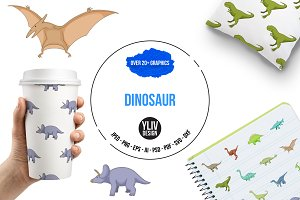 Dinosaurs icons set, cartoon style