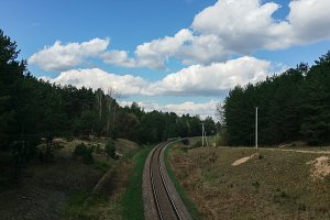 railroad crossing closeup