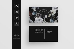 Black Floral business card template