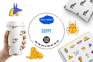 Egypt travel icons set, cartoon