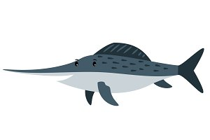 Swordfish cartoon icon