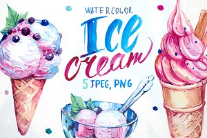 Ice cream. Watercolor