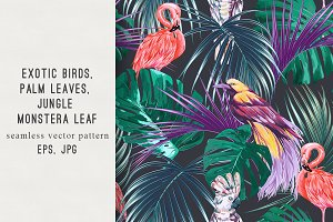Tropical leaves,exotic birds pattern