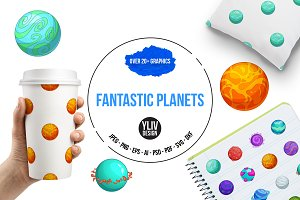 Fantastic planets icons set, cartoon