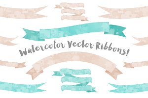 Ribbon Watercolor Vector Graphics