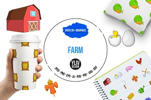 Farm icons set, cartoon style