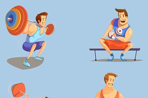 Gym cartoon icons set with