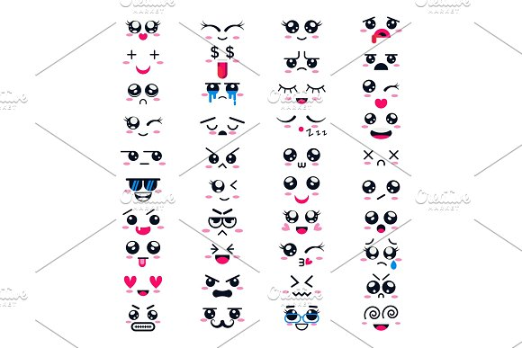 Kawaii vector cartoon emoticon character with different emotions and face expression collection illustration emotional set of japanese emoji and emotive feelings isolated on white background in Objects