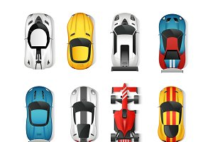 Sport cars top view icons set