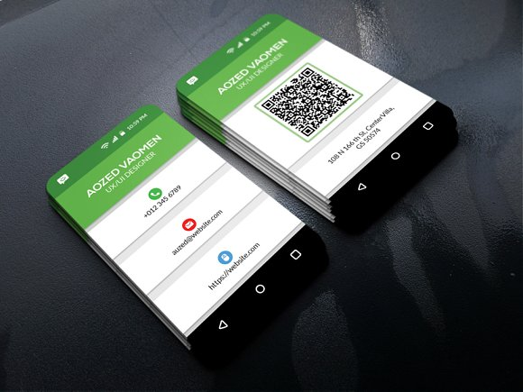 Mobile business card business card templates creative market mobile business card business cards wajeb Images