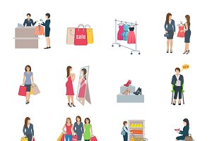 Woman shopping set of color icons