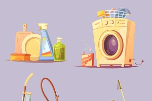 House apartments cleaning icons set
