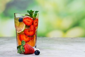 Fresh strawberry summer mojito cocktail