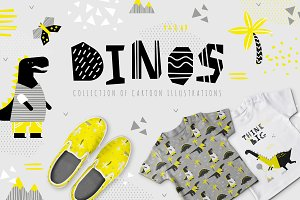 Dinos. Yellow design set.