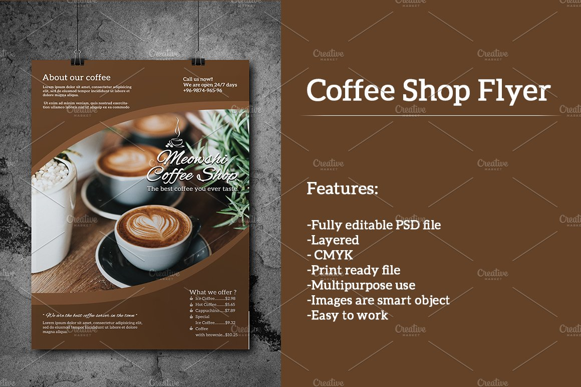 Free Coffee Shop A4 Flyer - Graphic Google - Tasty Graphic ... |New Coffee Shop Flyer
