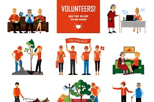 Volunteers decorative icons set
