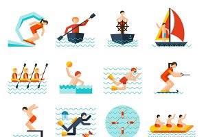 Water sports flat icons set