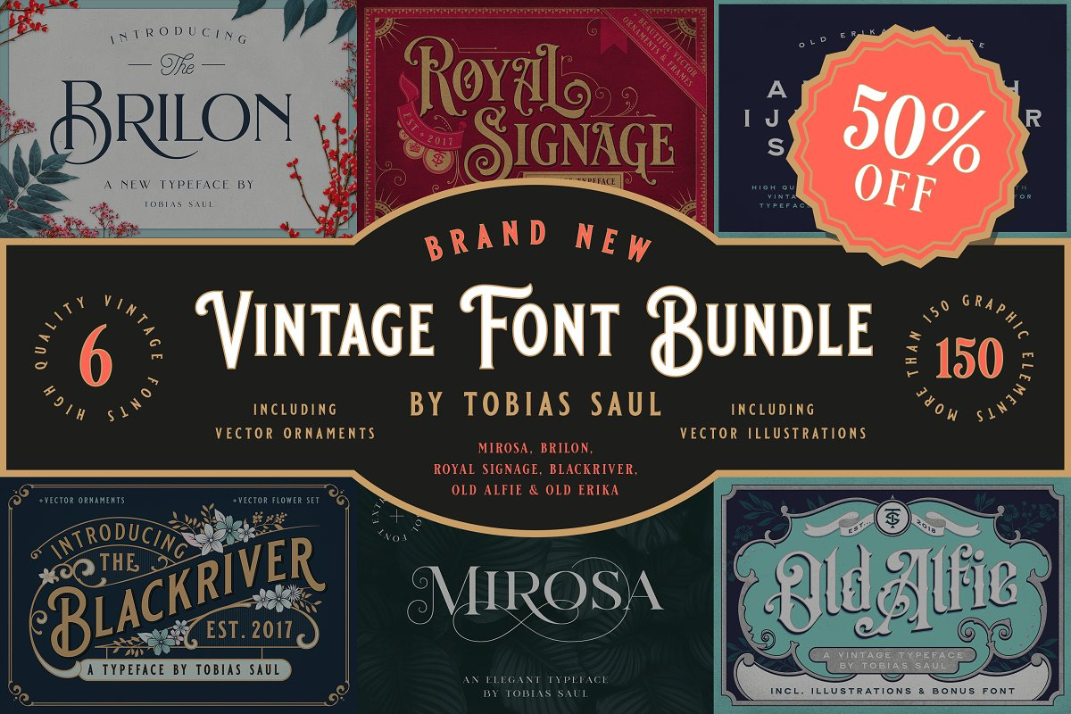 Vintage Font Bundle in Display Fonts - product preview 11