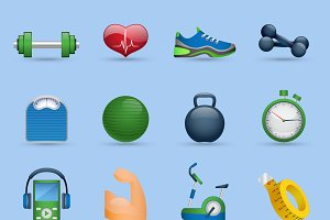 Fitness sports cartoon icons set