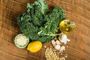 Kale pesto overhead