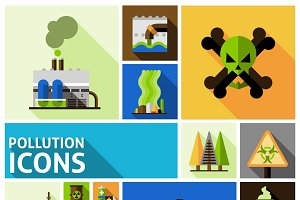 Pollution flat decorative icons set