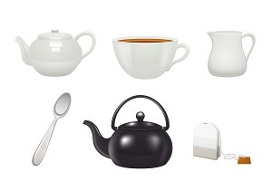 English traditional tea time icons