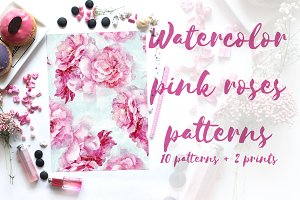Watercolor pink roses patterns