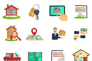 Real estate sale rent icons set
