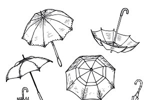 Hand Drawn Umbrellas Set