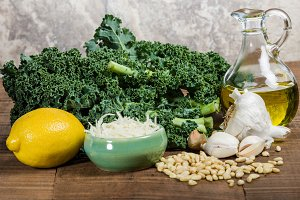 Ingredients for kale pesto
