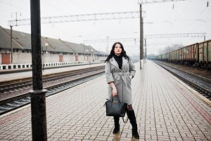 Brunette girl in train station