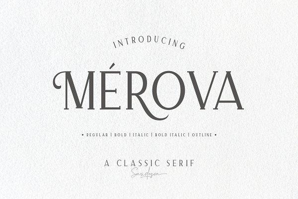 Serif Fonts: Sarid Ezra - Merova - Classic Serif (5 Fonts)