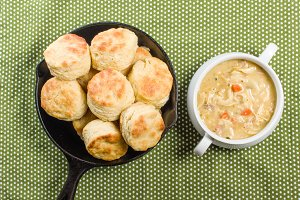 Biscuits and chicken soup