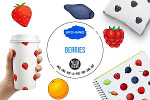 Berries icons set, cartoon style