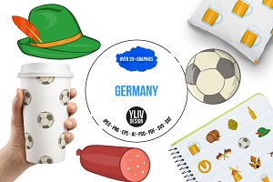 Germany icons set, cartoon style