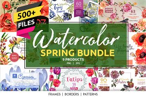 Watercolor Spring Bundle 10 products