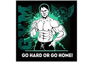 Train Hard Or Go Home. Motivational Quote for Fitness. Creative sport poster concept.