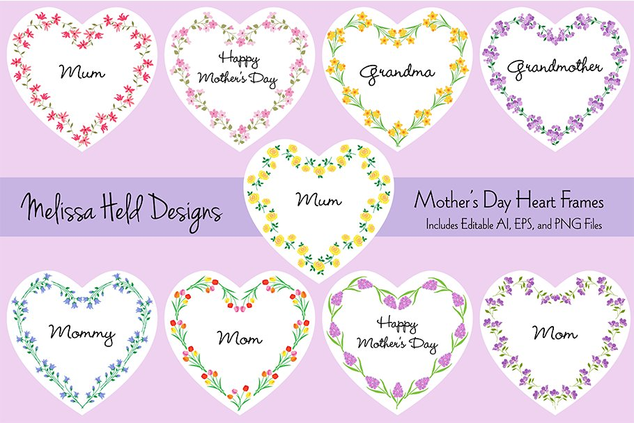 Mother\'s Day Heart Frames ~ Illustrations ~ Creative Market