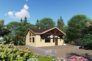 3D visualization. A wooden bathhouse