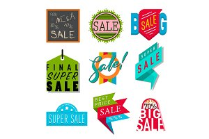 Super sale extra bonus banners text in color drawn label business shopping internet promotion vector illustration