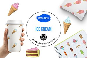 Ice cream icons set, cartoon style