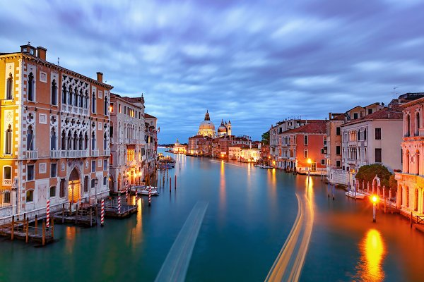 Architecture Stock Photos - Grand canal at night in Venice, Italy