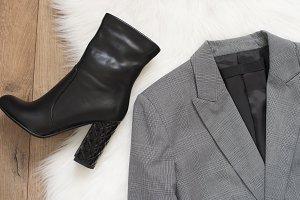 Checkered a gray jacket
