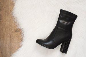 Elegant women black high heeled boot