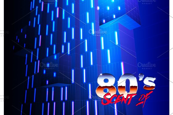 Neon 80s background with futuristic architectural abstract for new retro wave revival party poster