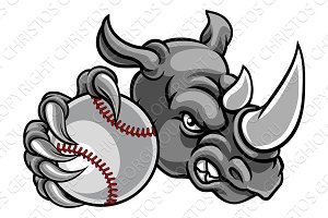 Rhino Baseball Ball Sports Mascot