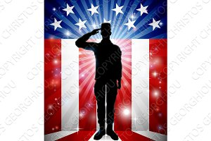 Patriotic American Soldier Saluting Flag
