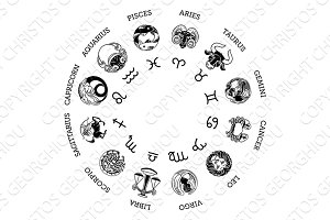 Astrology horoscope zodiac star signs symbols set