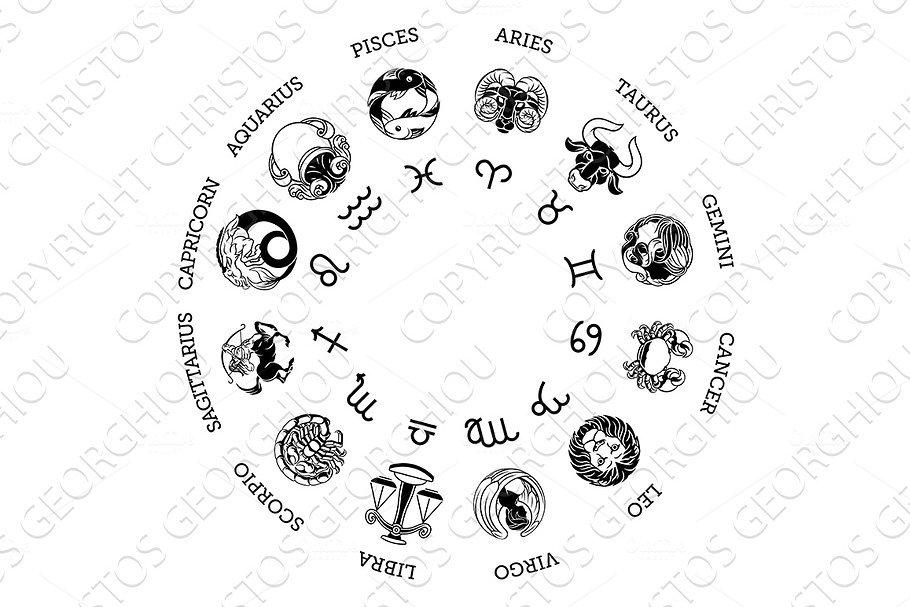 Astrology Horoscope Zodiac Star Signs Symbols Set Illustrations