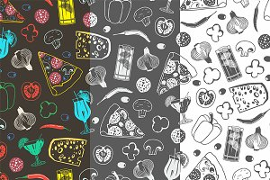 Seamless pattern of pizza